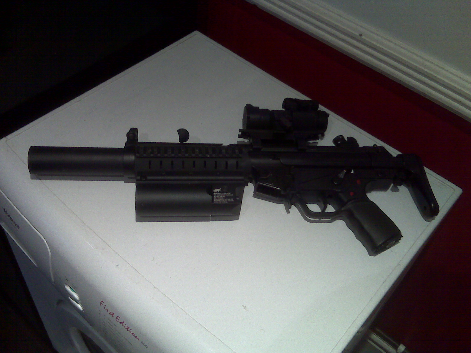Mp5 Airsoft Rifle With Grenade Launcher And Glock Pistol